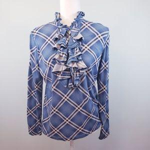 Lauren Ralph Lauren blue plaid ruffle neck L/S top